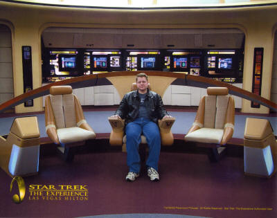 Aaron on the bridge of the Enterprise D